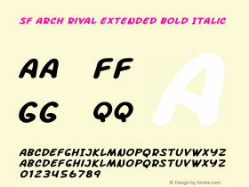 SF Arch Rival Extended Bold Italic Version 1.1图片样张