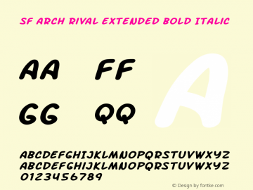 SF Arch Rival Extended Bold Italic Version 1.1 Font Sample