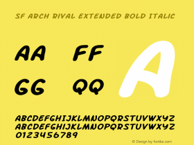 SF Arch Rival Extended Bold Italic ver 1.0; 2000. Freeware.图片样张