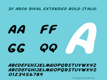 SF Arch Rival Extended Bold Italic ver 1.0; 2000. Freeware. Font Sample