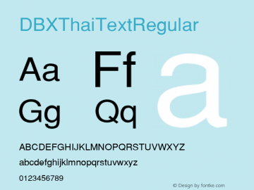 DBX ThaiText Regular MS core font:v1.00图片样张