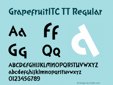 GrapefruitITC TT Regular Macromedia Fontographer 4.1.3 10/2/96 Font Sample