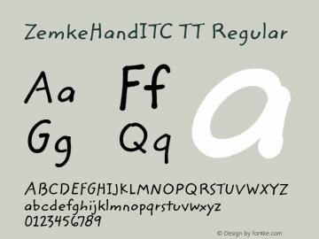 ZemkeHandITC TT Regular Macromedia Fontographer 4.1.3 10/2/96图片样张