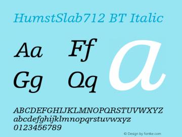 Humanist Slabserif 712 Italic BT Version 2.1图片样张