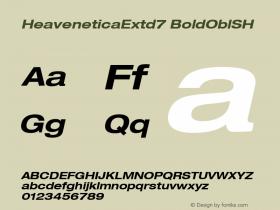 HeaveneticaExtd7 BoldOblSH SoHo 1.0 9/16/93 Font Sample