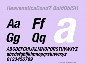 HeaveneticaCond7 BoldOblSH SoHo 1.0 9/16/93 Font Sample