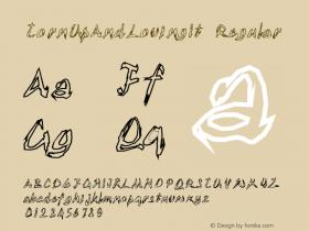 TornUpAndLovingIt Regular 1.0 of this jagged and toen looking outline font Font Sample