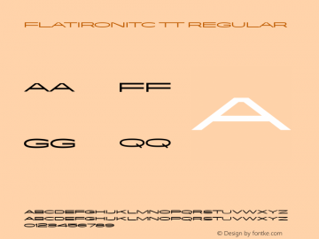 FlatironITC TT Regular Macromedia Fontographer 4.1.3 10/2/96 Font Sample