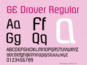 GE Drover Regular Version 1.0 Font Sample