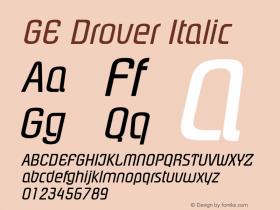 GE Drover Italic Version 1.0 Font Sample