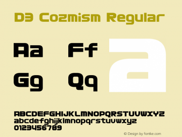 D3 Cozmism Regular 1.0 Font Sample