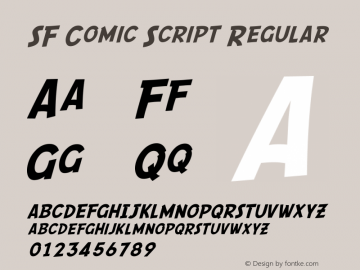 SF Comic Script Regular Version 1.1 Font Sample