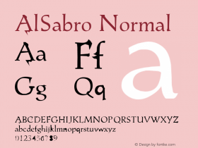 AlSabro Normal 01.10.2000 Font Sample