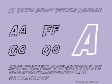 SF Comic Script Outline Regular Version 1.1 Font Sample