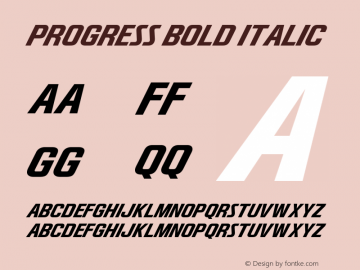 Progress Bold Italic Version 1.00 June 12, 2017, initial release图片样张