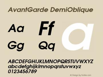 AvantGarde DemiOblique Macromedia Fontographer 4.1.2 7‐12‐2004图片样张