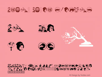 Asian Dings Regular 1.0 of this nifty little dingbat set, Font Sample
