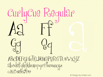 CurlyCue Regular 1998; 0.0, initial release Font Sample