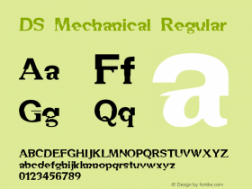 DS Mechanical Regular Version 1.0; 1999; initial release Font Sample