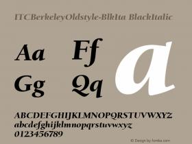 ITCBerkeleyOldstyle-BlkIta BlackItalic Version 1.00 Font Sample