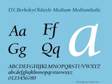 ITCBerkeleyOldstyle-Medium MediumItalic Version 1.00 Font Sample