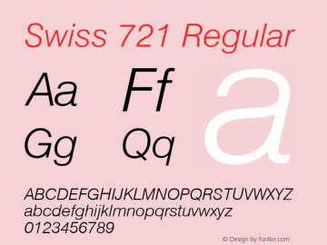 Swiss 721 Light Italic Version 2.0-1.0图片样张