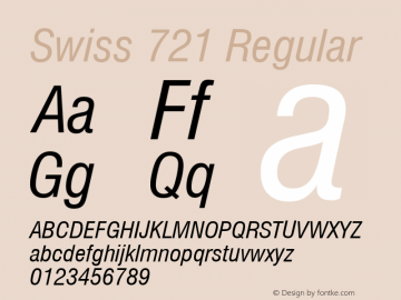 Swiss 721 Condensed Italic Version 2.0-1.0图片样张