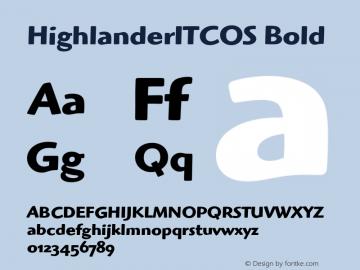 HighlanderITCOS Bold Version 1.00 Font Sample