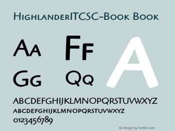 HighlanderITCSC-Book Book Version 1.00 Font Sample