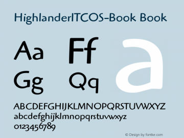 HighlanderITCOS-Book Book Version 1.00 Font Sample