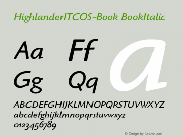 HighlanderITCOS-Book BookItalic Version 1.00 Font Sample