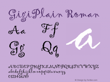 GigiPlain Roman Version 1.00 Font Sample