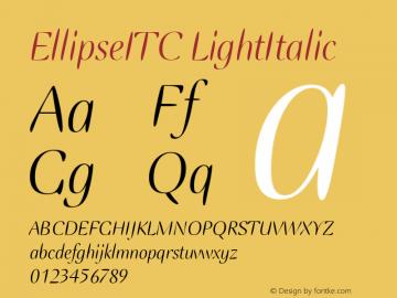 EllipseITC LightItalic Version 1.00 Font Sample