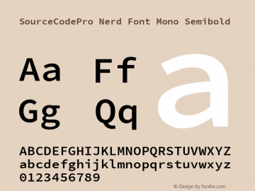 SourceCodePro Nerd Font Mono Font Family SourceCodePro Nerd