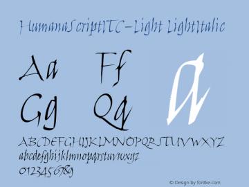 HumanaScriptITC-Light LightItalic Version 1.00 Font Sample