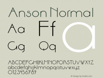 Anson Normal 1.000 Font Sample