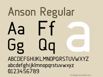 Anson Regular Version 1.001;PS 001.001;hotconv 1.0.56;makeotf.lib2.0.21325 Font Sample