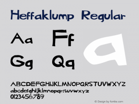 Heffaklump Regular 1.0 Tue May 27 18:04:38 1997 Font Sample