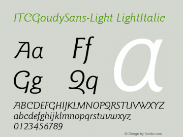 ITCGoudySans-Light LightItalic Version 1.00 Font Sample