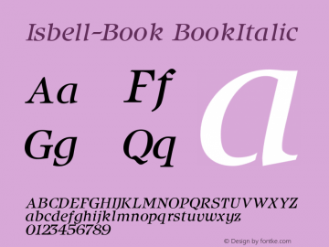 Isbell-Book BookItalic Version 1.00 Font Sample