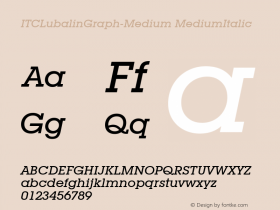ITCLubalinGraph-Medium MediumItalic Version 1.00 Font Sample