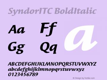SyndorITC BoldItalic Version 1.00 Font Sample