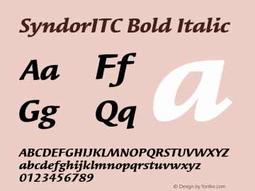 SyndorITC Bold Italic Version 001.000 Font Sample