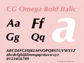 CG Omega Bold Italic Version 1.01图片样张