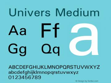 Univers Medium Version 1.01 Font Sample