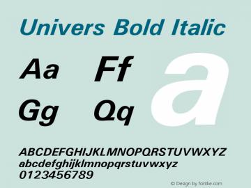 Univers Bold Italic Version 1.01 Font Sample