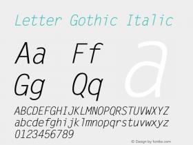 Letter Gothic Italic Version 1.01图片样张