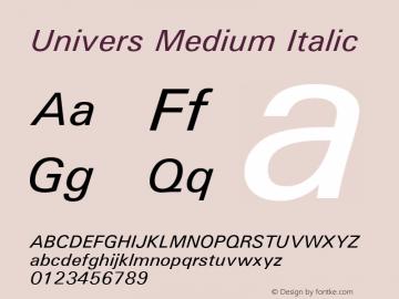 Univers Medium Italic Version 1.01 Font Sample