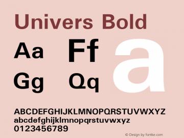 Univers Bold Version 1.01 Font Sample