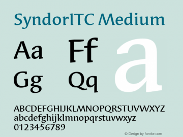 SyndorITC Medium Version 001.000 Font Sample